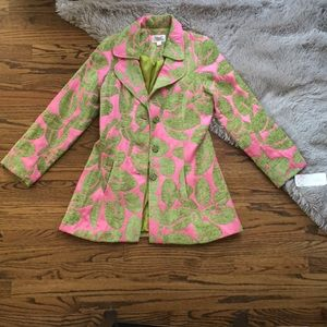 3 Sisters pink and green coat with green buttons